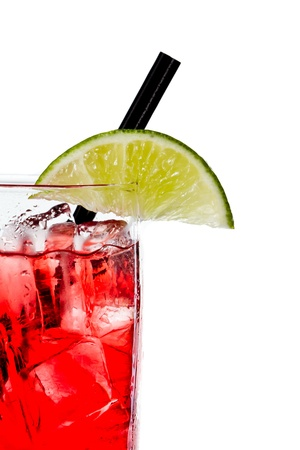 closeup of a cape cod cocktail or vodka cranberry isolated on a white background photo