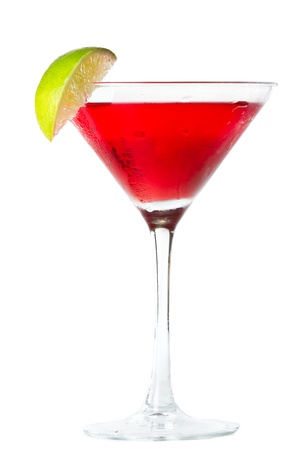 isolated cosmopolitan on a white background garnished with a lime