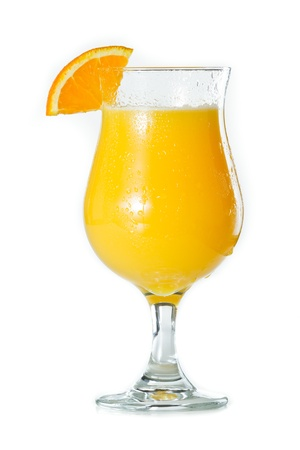 alcohol screwdriver: closeup of a glass filled with fresh orange juice isolated on a white background