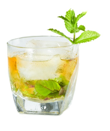 classic Kentucky derby cocktail the mint julep isolated on a white background photo