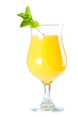 alcohol screwdriver: closeup of a glass filled with fresh orange juice garnished with fresh mint isolated on a white background Stock Photo