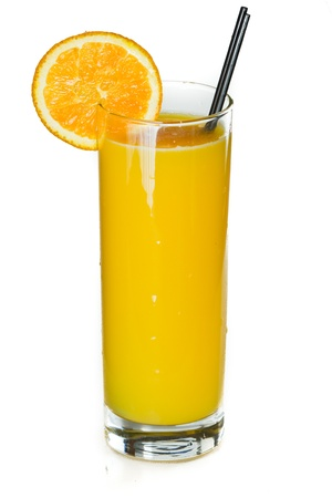 closeup of a glass filled with fresh orange juice isolated on a white background photo
