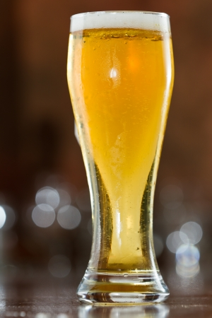 single beer served in a bar with an out of focus background photo