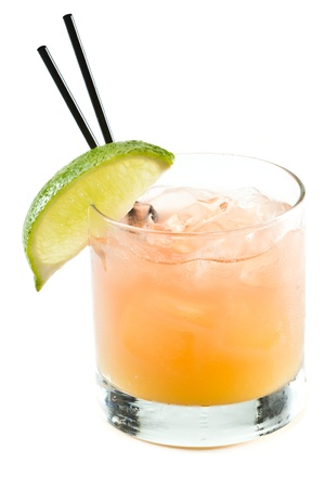 classic cocktail, madras, vodka cranberry and orange juice isolated on a white background