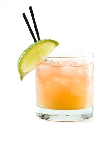 classic cocktail, madras, vodka cranberry and orange juice isolated on a white background photo