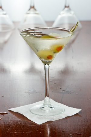 pimento: classic cocktail served with pimento stuffed cocktail olives