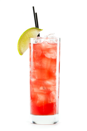 lime slice: classic cocktail, cape cod served in a glass isolated on a white background