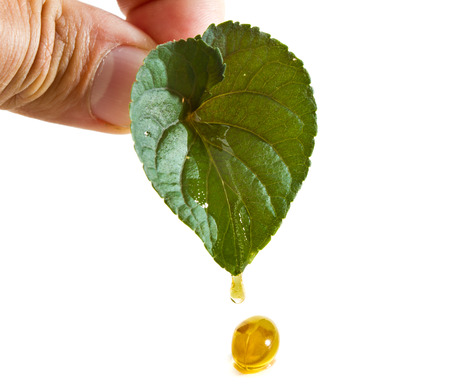 natural oil supplement capsule with a green heart shaped leaf isolated on a white background