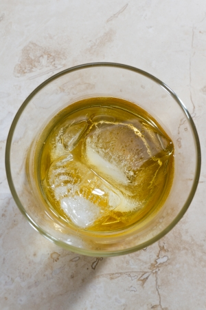 whiskey served on the rocks with a different perspective and look photo