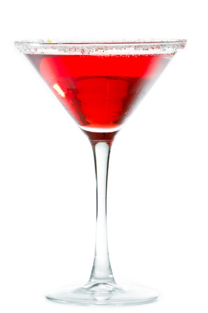 Christmas martini isolated on a white background garnished with sugar rim in different colors