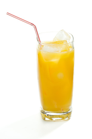 alcohol screwdriver: Fresh orange juice served in a tall glass with ice isolated on a white background