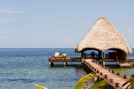 tourism in belize: beautiful relaxing beach in a tropical calm  part of Belize