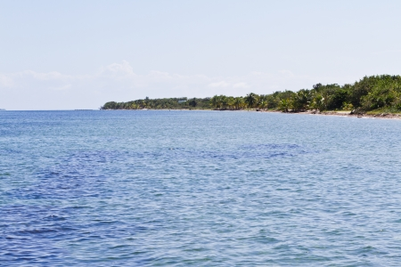beautiful tropical beach in southern Belize with clear blue water photo