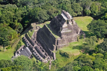 Aerial view of Xunantunich, Mara Ruins in the jungle of Belize