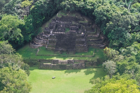 aerial view of the Temple in Lamanai maya ruins in the tropical jungle of Belize