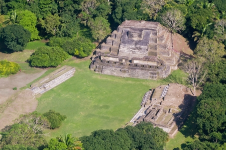 aerial view of Altun Ha, maya ruins in the tropical jungle of Belize
