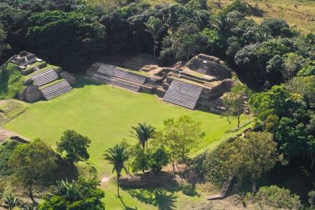 aerial view of Altun Ha, maya ruins in the tropical jungle of Belize
