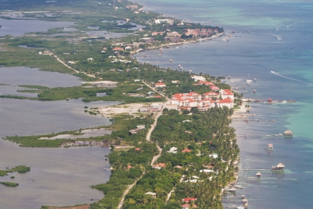 Aerial view of the town of  San Pedro in Ambergris Caye, Belize photo