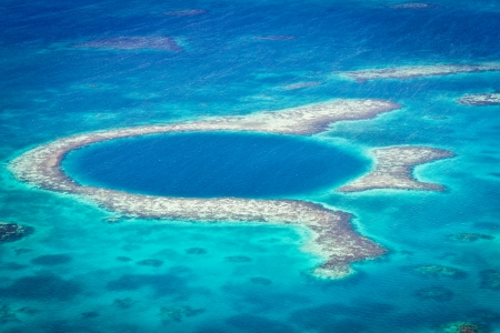aerial view of the great blue hole of the coast of Belize