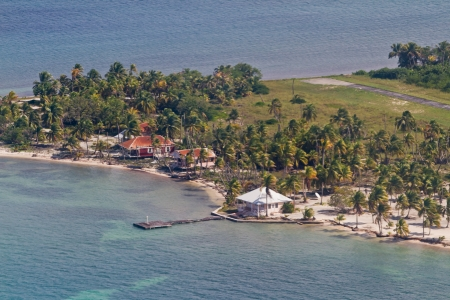 Aerial view of the Lighthouse Caye of the coast of Belize