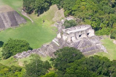 atone: Aerial view of Xunantunich, Mara Ruins in the jungle of Belize