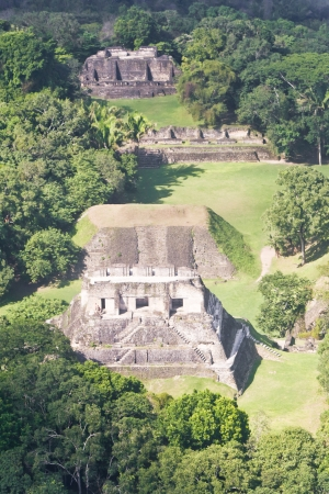 tourism in belize: Aerial view of Xunantunich, Mara Ruins in the jungle of Belize