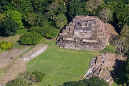 atone: aerial view of Altun Ha, maya ruins in the tropical jungle of Belize