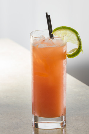 collins: organic fruit punch with rum serve don the rocks in a collins glass Stock Photo
