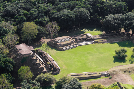 tourism in belize: aerial view of Altun Ha, maya ruins in the tropical jungle of Belize