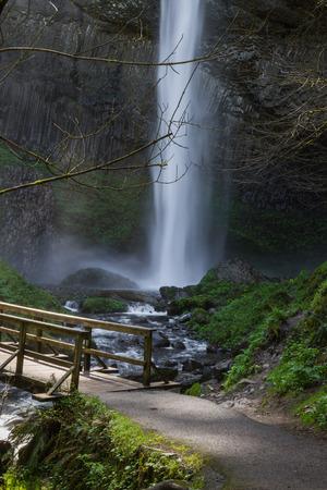 beautiful spring time waterfalls in the Columbia Gorge, Oregon photo
