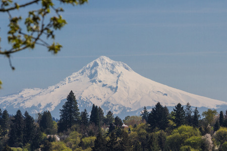 view of mount hood from the outskirts of Portland Oregon photo