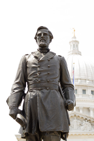 colonel: statue of Col. Hans Christian Heg in the capitol square in Madison Wisconsin