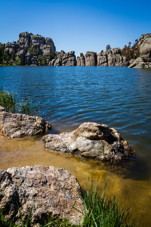 Sylvan Lake in Custer state park, South Dakota photo