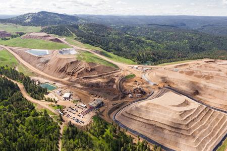 luchtfoto van een open pit mijn in Zuid-Dakota Stockfoto