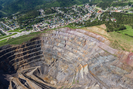 aerial view of an abandoned open pit mine and the town of Lead, South Dakota Reklamní fotografie