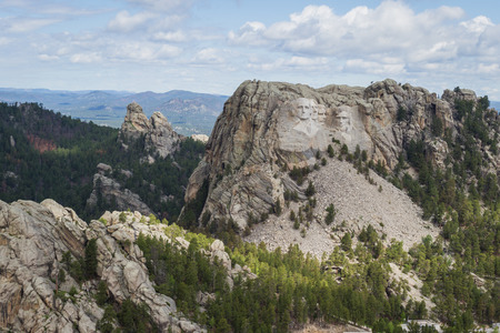 mount jefferson: aerial view of Mount Rushmore on a cloudy spring morning Editorial