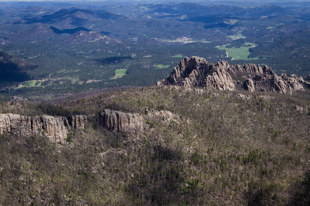 aerial view of the granite formations in the  black hills