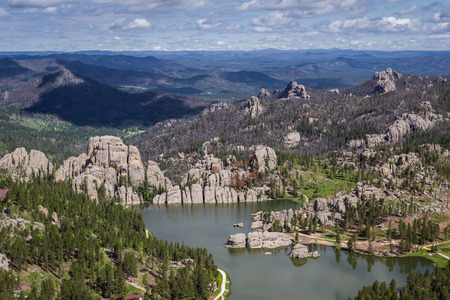 sylvan: Aerial view of sylvan lake and granite formations in the Black Hills Stock Photo
