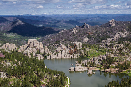 Aerial view of sylvan lake and granite formations in the Black Hills photo