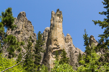 granite park: large granite formations in Custer state park, South Dakota, on the needles and cathedral spires trail