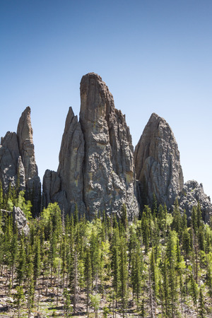 large granite formations in Custer state park, South Dakota, on the needles and cathedral spires trail