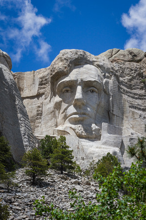 view of Abraham Lincoln at Mount Rushmore National Monument in South Dakota photo