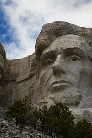 view of Abraham Lincoln at Mount Rushmore National Monument in South Dakota