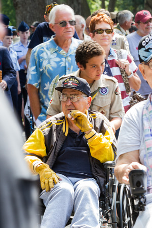 Bay Pines, Florida - May 26 : Veterans and family members at the Memorial Day parade, May 26 2014 in Bay Pines VA cemetery in Florida