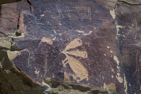 depictions: ancient depictions or petroglyphs found in wyoming. some thought to be over 10000 years old