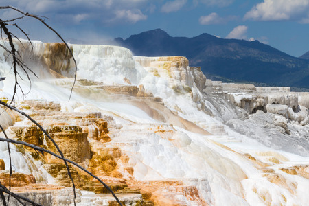 deposits: hot springs in yellowstone national park. rich mineral water leaving deposits for color and flow Stock Photo