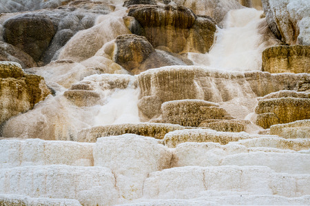 deposits: beautiful mineral deposits in mammoth hot springs, yellowstone national park