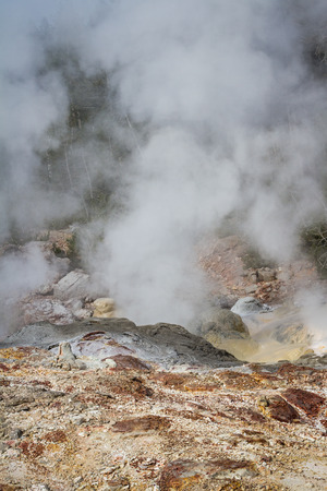 deposits: active geyser with beautiful mineral deposits in yellowstone national park