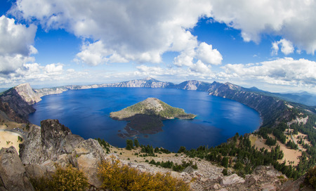 crater lake: wide angle view of Crater Lake form the top of Watchmans Peak, beautiful landscape in Oregon