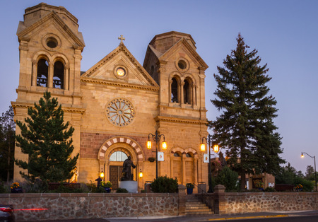 twilight view of the Basilica of St francis in Santa Fe, New Mexico